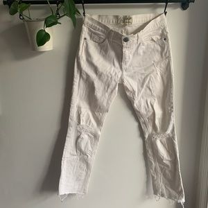 Current/Elliott I White Cropped Straight Jeans
